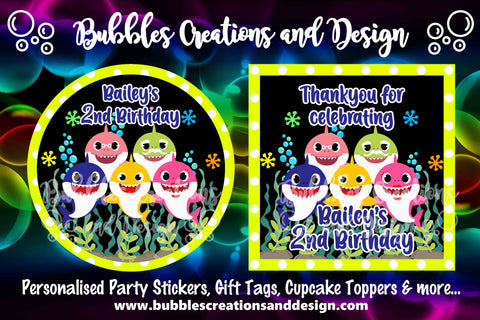Personalised Party Stickers - Baby Shark