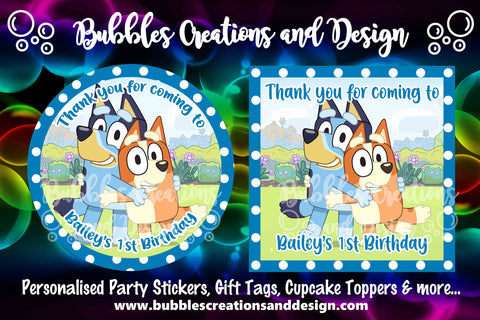 Personalised Party Stickers - Bluey & Bingo - Blue