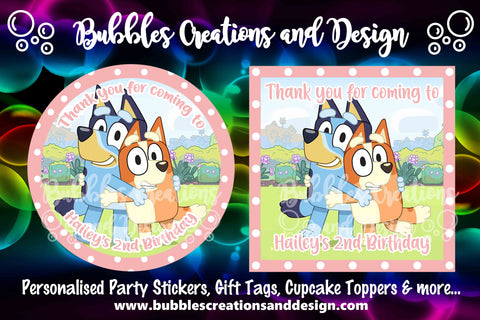 Personalised Party Stickers - Bluey & Bingo - Pink