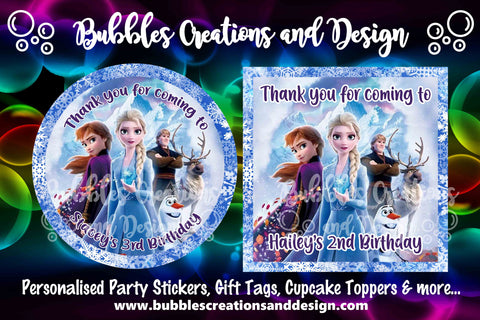Personalised Party Stickers - Frozen