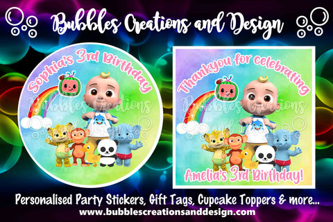 Personalised Party Stickers - Cocomelon