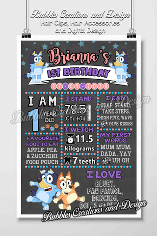 Bluey Birthday Board Design (pink & purple design)