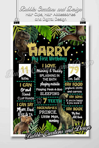 Dinosaur Birthday Board Design