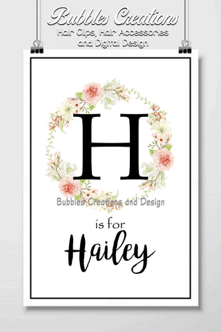 Floral Wreath Name Design- Personalised