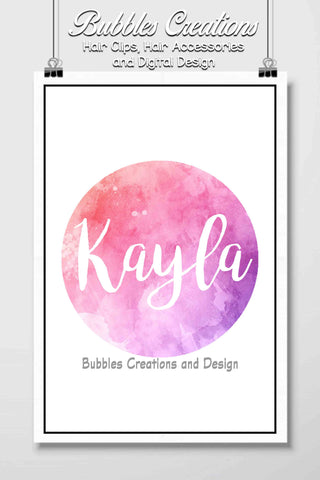 Pink/Purple Water Colour Name Design- Personalised