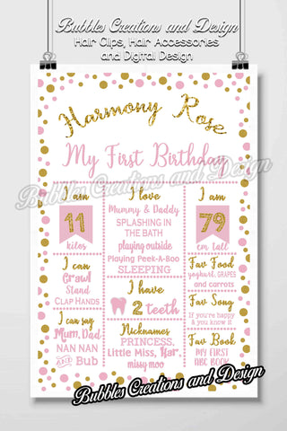 Pink and Gold Spots Birthday Board Design