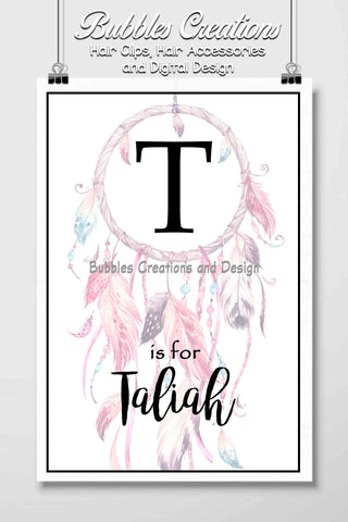 Pink Dream Catcher Name Design- Personalised