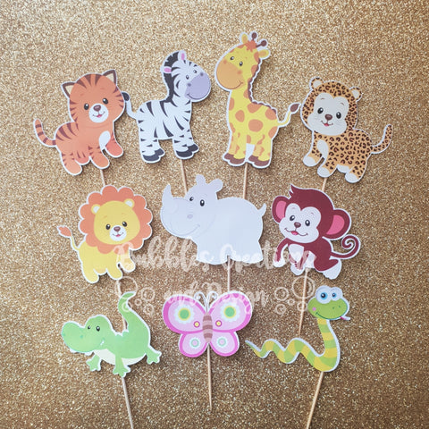 Jungle Animals - Cupcake Toppers