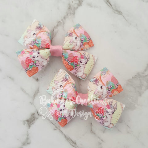Easter - Bunny Basket RIBBON HAIR CLIPS
