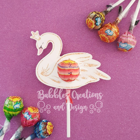 Swan with printed Gold effect - Lollipop Holders