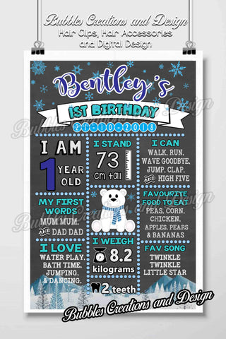 Winter Themed Birthday Board Design