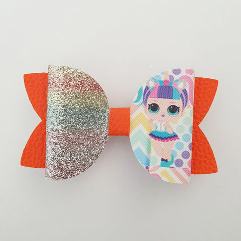 "LOL Doll Orange/glitter ""Maria"" Style Bow"