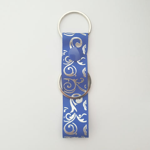 Blue & Silver Swirls Personalised Bag Tag