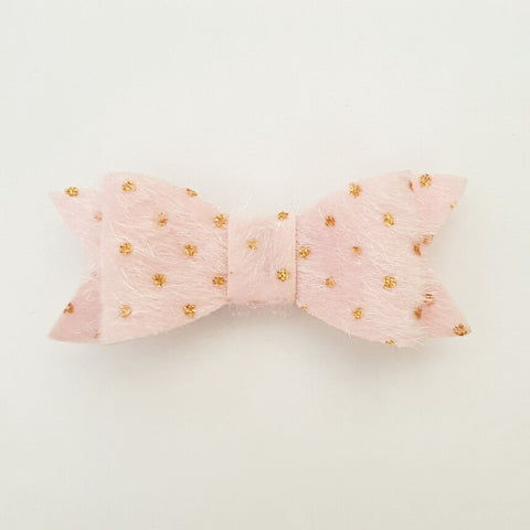 "Pink & Gold Fur ""LILLY"" Style Bow"