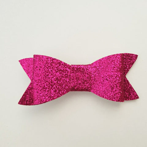 "Hot Pink Glitter ""LILLY"" Style Bow"
