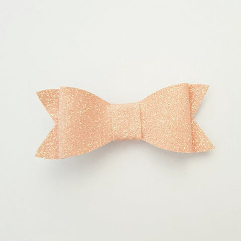 "Peach/Pink glitter ""LILLY"" Style Bow"