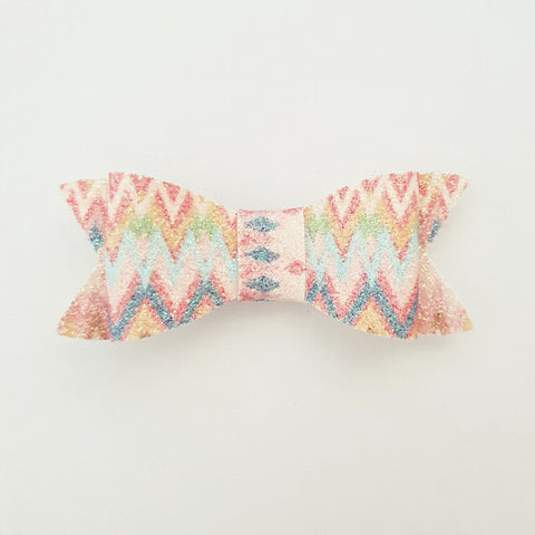 "Rainbow Glitter pattern ""LILLY"" Style Bow"