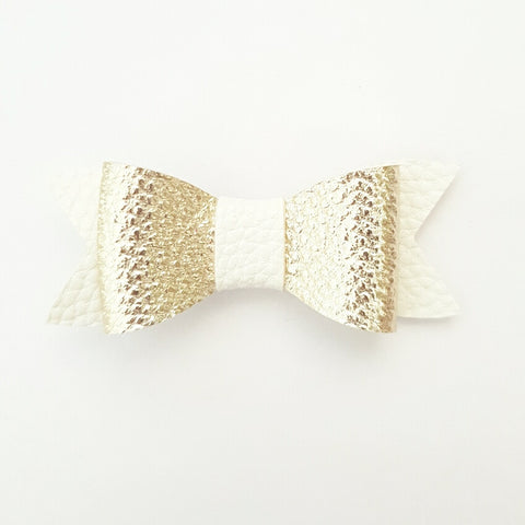 "Gold & White ""LILLY"" Style Bow"