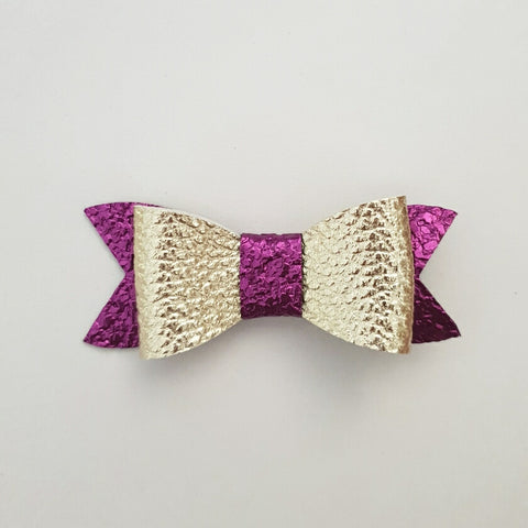 "Gold & Purple ""LILLY"" Style Bow"