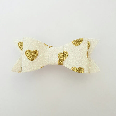 "White & Gold Hearts ""LILLY"" Style Bow"