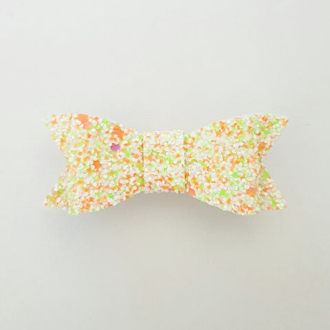 "White & Orange Glitter ""LILLY"" Style Bow"