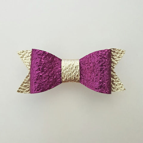 "Purple & Gold ""LILLY"" Style Bow"