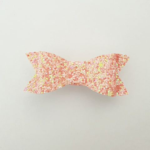 "Pink Shimmer Glitter ""LILLY"" Style Bow"
