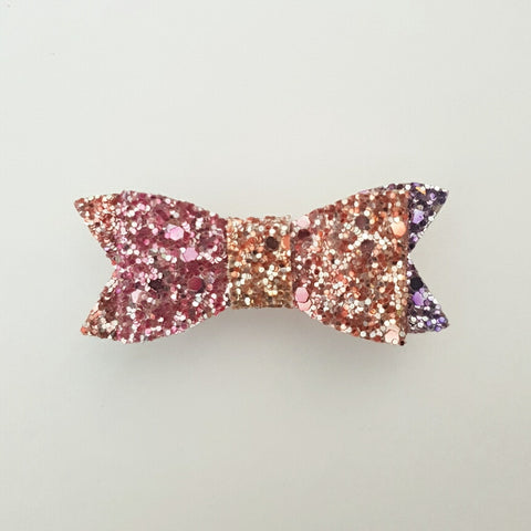 "Pink, Purple & Orange glitter ""LILLY"" Style Bow"