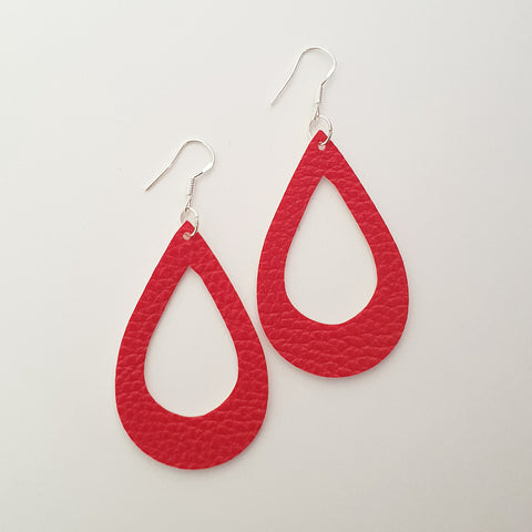 Red Hollow Teardrop Earrings