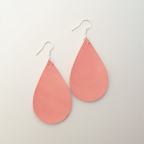 Pink Suede Teardrop Earrings