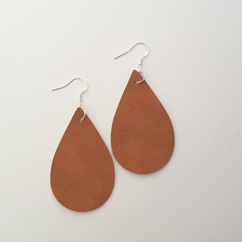 Brown Suede Teardrop Earrings