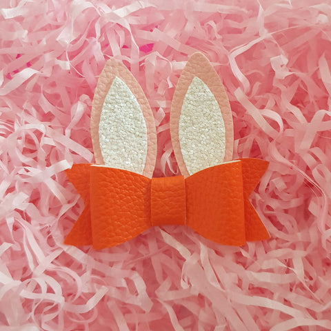 "Easter Bunny Ears - Orange ""LILLY"" Style Bow"