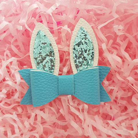 "Easter Bunny Ears - Blue ""LILLY"" Style Bow"