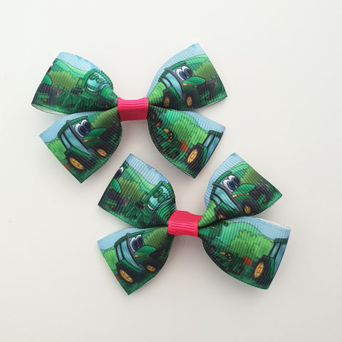 Tractors RIBBON HAIR CLIPS