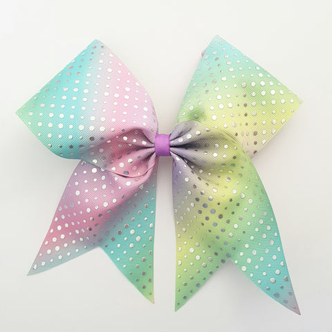 "Rainbow with Silver ""O.T.T. CHEER"" Style Bow"