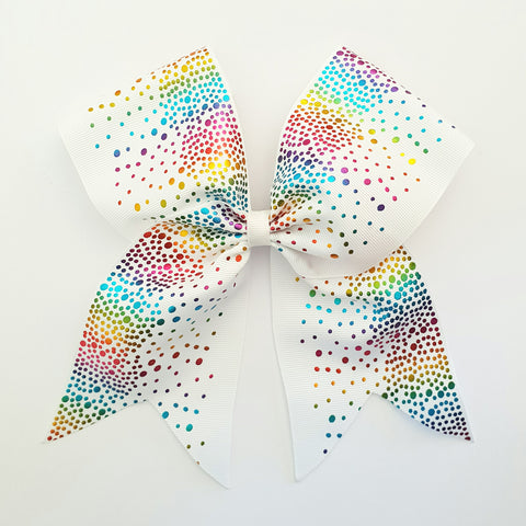 "White Rainbow Spots ""O.T.T. CHEER"" Style Bow"
