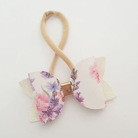 "Pink and Purple Floral (no2) ""Maria"" Style Bow Headband"