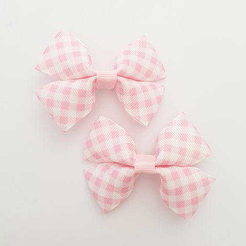 Pink Plaid RIBBON HAIR CLIPS