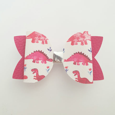 "Dinosaurs Pink (no2) ""Maria"" Style Bow"