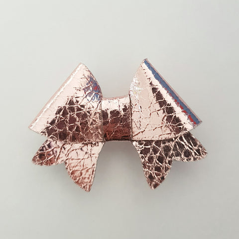 "Rose Gold Crinkle ""BELLA"" Style Bow"