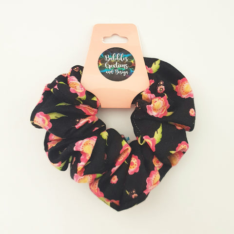Black Floral - Scrunchie