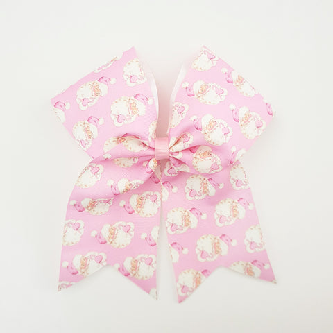 "SANTA in pink  ""O.T.T. CHEER"" Style Bow"