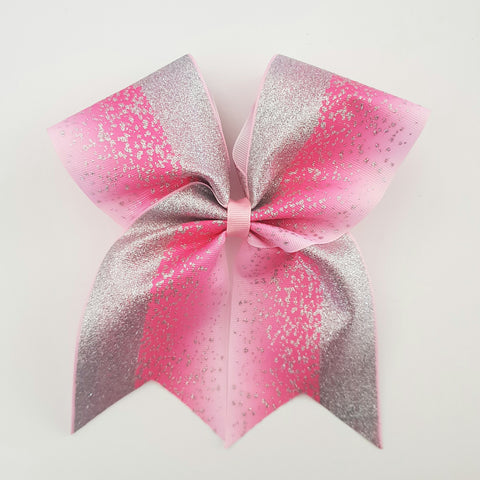 "Silver Glitter on Pink  ""O.T.T. CHEER"" Style Bow"