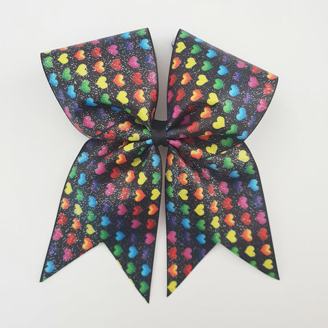 "Rainbow Hearts on Black Glitter ""O.T.T. CHEER"" Style Bow"