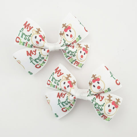 My First Christmas RIBBON HAIR CLIPS
