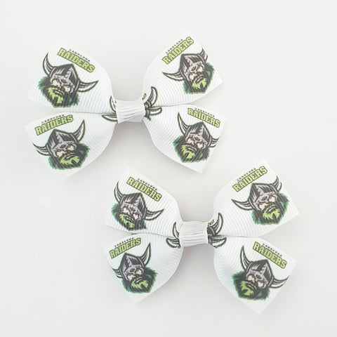 NRL Raiders RIBBON HAIR CLIPS