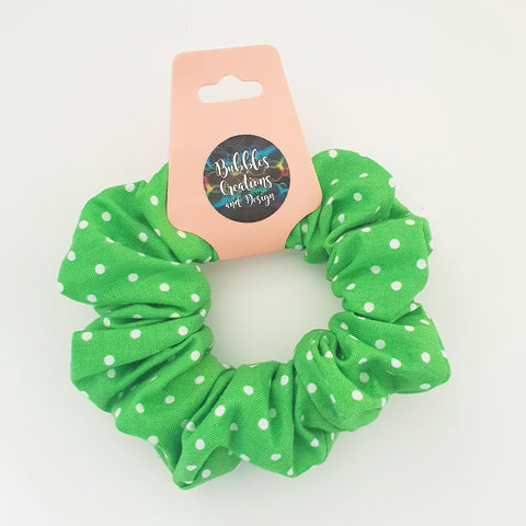 Green and White Polka Dots - Scrunchie