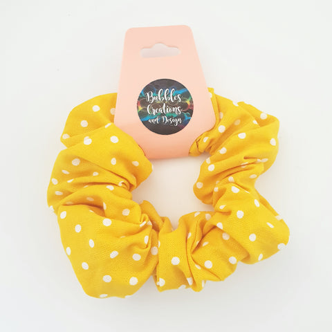 Yellow White Polka Dots - Scrunchie