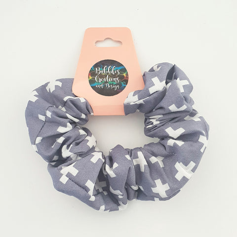 Blue/Grey Crosses - Scrunchie