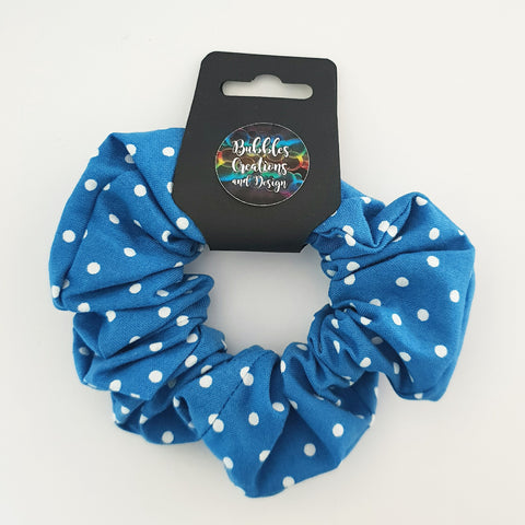 Blue and White Polka Dots - Scrunchie